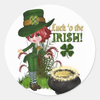 Pegatinas irlandeses del Leprechaun de O'the de la Pegatina Redonda