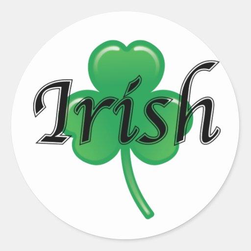 Pegatinas irlandeses del trébol pegatina redonda