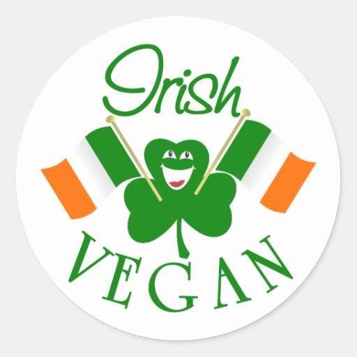 Pegatinas irlandeses del vegano pegatina redonda