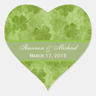 Pegatinas irlandeses verdes del boda de los pegatina en forma de corazón