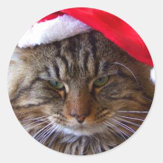 Pegatinas irritables del gato del navidad etiquetas redondas