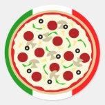 Pegatinas italianos del fiesta de la pizza pegatina redonda