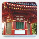Pegatinas japoneses de la pagoda del templo colcomanias cuadradass