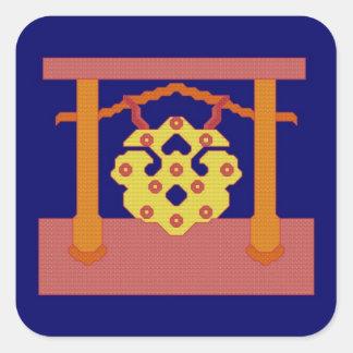 Pegatinas japoneses del escudo del gongo calcomanía cuadradas personalizadas