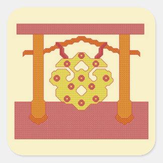 Pegatinas japoneses del escudo del gongo calcomanias cuadradas