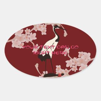 Pegatinas japoneses del óvalo de la grúa pegatinas oval personalizadas