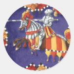 Pegatinas Jousting del caballero medieval Etiquetas Redondas