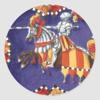 Pegatinas Jousting del caballero medieval Pegatina Redonda
