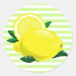 Pegatinas jugosos de los limones etiquetas redondas
