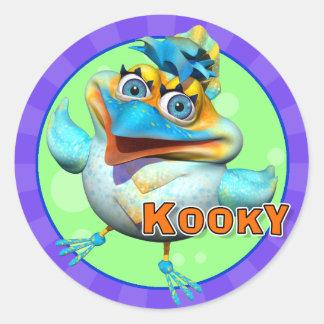 Pegatinas Kooky del pájaro de la diversión Pegatina Redonda