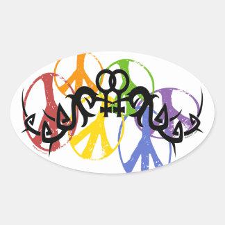 Pegatinas lesbianos tribales de los símbolos de pegatina ovalada
