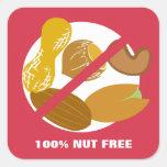 Pegatinas libres 100% de la alarma de la alergia pegatina cuadrada
