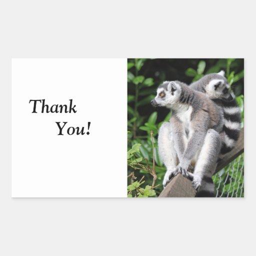 Pegatinas lindos anillo-atados Lemur del feliz Pegatina Rectangular