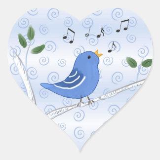 Pegatinas lindos cantantes del Bluebird Pegatina En Forma De Corazón