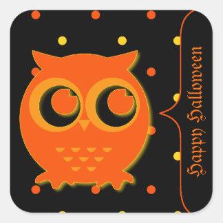 Pegatinas lindos de Halloween del búho Calcomanía Cuadradas Personalizada