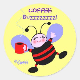 Pegatinas lindos de la abeja del zumbido del pegatinas redondas
