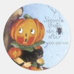 Pegatinas lindos de la calabaza de Halloween - Etiqueta Redonda