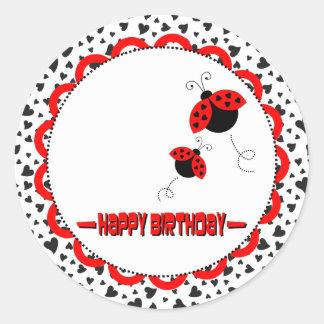 Pegatinas lindos de la fiesta de cumpleaños de las pegatina redonda