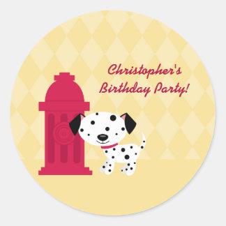 Pegatinas lindos de la fiesta de cumpleaños del etiqueta redonda