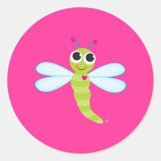 Pegatinas lindos de la libélula pegatina redonda