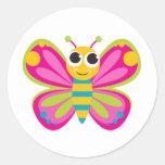 Pegatinas lindos de la mariposa etiquetas redondas