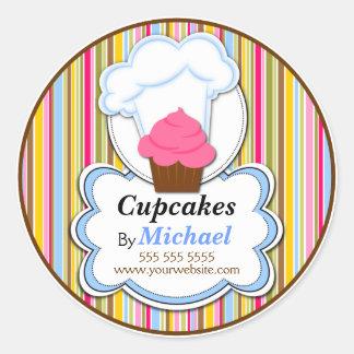 Pegatinas lindos de la panadería del gorra de la etiquetas redondas