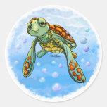 Pegatinas lindos de la tortuga de mar etiqueta redonda