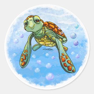 Pegatinas lindos de la tortuga de mar