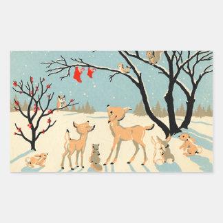 Pegatinas lindos de los amigos del invierno pegatina rectangular