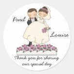 Pegatinas lindos de los pares del boda etiqueta redonda