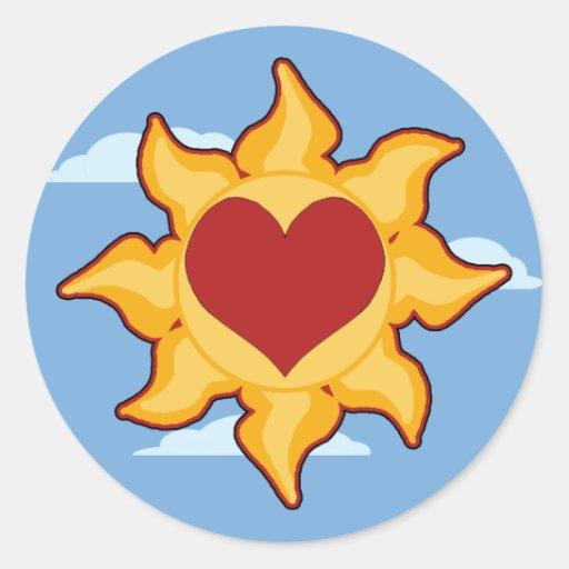 Pegatinas lindos de Sun y del corazón Etiquetas Redondas