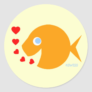 Pegatinas lindos del amor de CartoonFish para el Pegatina Redonda