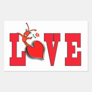 Pegatinas lindos del amor de los cangrejos pegatina rectangular