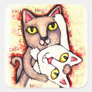 Pegatinas lindos del arte de los gatos de la danza colcomanias cuadradass