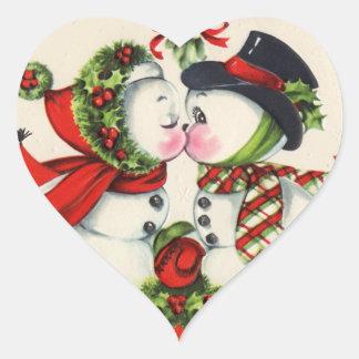 Pegatinas lindos del beso del muñeco de nieve