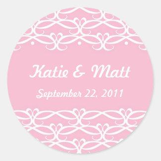 Pegatinas lindos del boda en rosa pegatina redonda