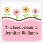 Pegatinas lindos del bookplate de las flores rosad