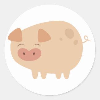 Pegatinas lindos del cerdo pegatina redonda