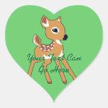 Pegatinas lindos del cervatillo de los ciervos colcomanias corazon personalizadas