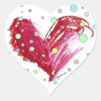 Pegatinas lindos del corazón en forma del corazón pegatina en forma de corazón