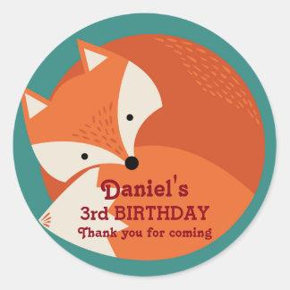 Pegatinas lindos del cumpleaños de los animales etiqueta redonda
