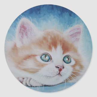 Pegatinas lindos del gatito pegatina redonda