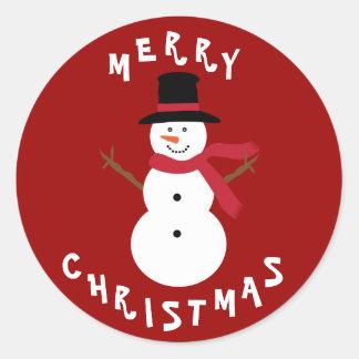 Pegatinas lindos del muñeco de nieve del navidad etiquetas redondas