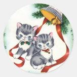 Pegatinas lindos del navidad de los gatitos del vi