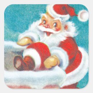 Pegatinas lindos del navidad de Santa Pegatina Cuadradas