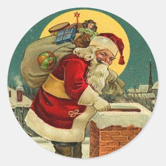 Pegatinas lindos del navidad de Santa Pegatina Redonda