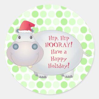 Pegatinas lindos del navidad del hipopótamo pegatinas redondas