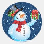 Pegatinas lindos del navidad del muñeco de nieve etiqueta redonda