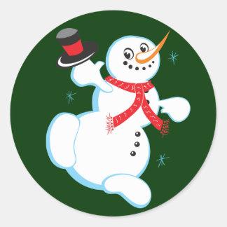 Pegatinas lindos del navidad del muñeco de nieve pegatina redonda