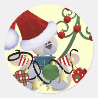 Pegatinas lindos del oso del navidad pegatina redonda